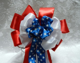 Red White and Blue  with white stars Layered Patriotic  Satin bow