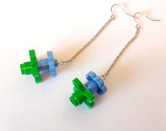 """""""Funny fun"""" earrings - sky blue LEGO flowers - Djouland collection"""