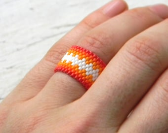 Colorful statement ring Colorful beaded ring Colorful peyote ring Seed bead ring Bead woven ring Wide colorful ring Beaded jewelry Beadwork