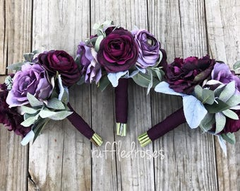 Plum and Iris Bouquet, Boho Bouquet, Wedding Bouquet, Bridesmaid Bouquet, Purple Bouquet