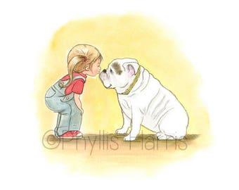 Little girl and her bulldog art print - English Bulldog and little girl