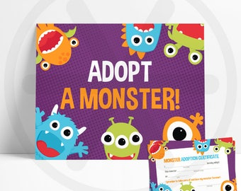 Adopt a Monster Sign - Monster Adoption Certificate Cards - Little Monster Birthday - Digital Download