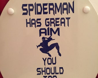 Spiderman Bathroom Vinyl Toilet Decal: Spiderman Has Great Aim