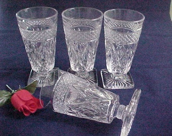 Vintage Cape Cod Footed Juice Tumblers by Imperial Glass, Set of 4 Elegant Glassware of the Depression Era Clear Pressed Glass Stems