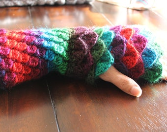 Crocheted Fingerless Dragon Gloves with flat palm