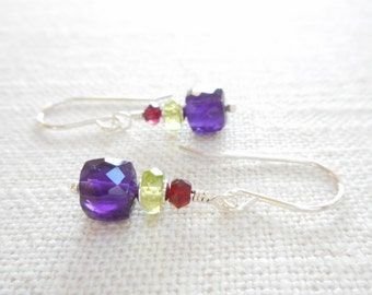 Amethyst, Peridot and Garnet Earrings, Multicolor Gemstone Birthstone Earrings, Sterling Silver Genuine Gemstone Jewelry, Dangle Earrings