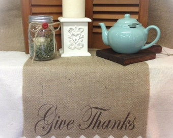 Burlap Table Runner with Give Thanks and a Chevron pattern on ends - Holiday decorating Thanksgiving runner