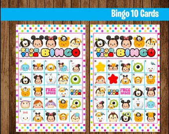 Tsum Tsum Bingo Game - Printable - 10 different Cards - Party Game Printable - Half Page Size - INSTANT DOWNLOAD