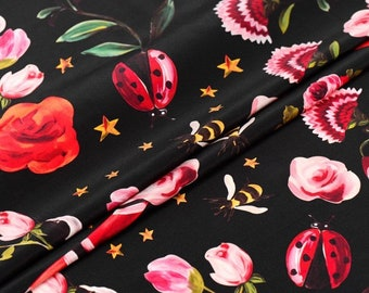 Crêpe de chine silk printed flowers and snake / exclusively available on request