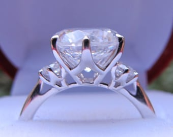 Three Stone Engagement Ring Setting, 9mm Ring Setting, Past Present Future Semi Mount, Large Ring Setting, Engagement Ring Setting