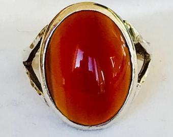 Stunning large vintage sterling silver Carnelian statement ring - Birmingham 1976