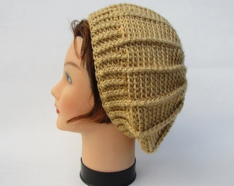 Women's Beanie Hat, Crochet Beret, Crochet Tam, Crochet Hat, Women's Hat In Autumn Maize, Slouchy Beanie, Slouchy Hats For Women