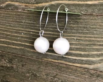 Large Pearl Dangle Hoop Earrings