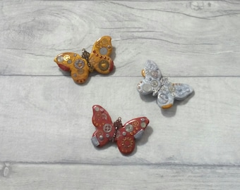 Steampunk Butterfly Brooch, steampunk jewellery, steampunk brooch, butterfly jewellery, butterfly brooch, steampunk butterfly, polymer clay
