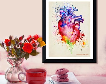 "Fine Art Print - ""Watercolor Heart "" 8.5"" x 11"",Anatomy Medical print, Registered Nurse Gift, Nurse Graduation gift, Watercolor Splatter art"