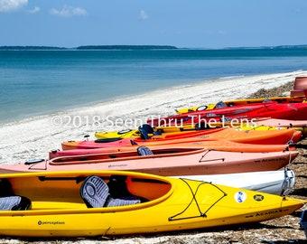 Kayaks on Beach - Photographic Print