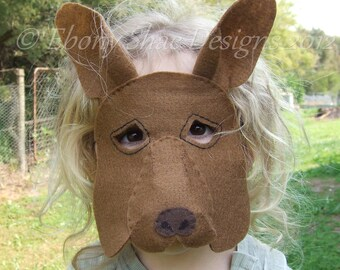Kangaroo Mask PATTERN. Kids Kangaroo Costume PDF sewing patttern.