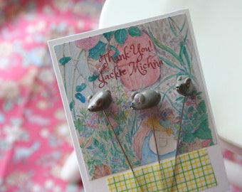 Three little mice  pin set, folk and rustic style
