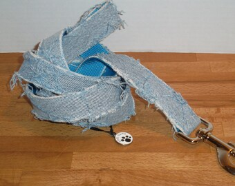 """1"""" wide leash - recycled denim with blue or red webbing and mini dog charm, 4 1/2 foot long. Purchase matching collar and take 10% off."""