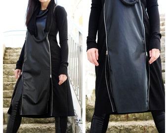Designer Dress/ Black Dress/ Black Formal Dress/ Knee Length Dress/ Extravagant Black/ Evening Dress/   by Fraktura D0029
