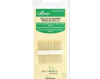 Clover Gold Eye Sharps Needles (NO. 10) 20 Needle Pack 237/10