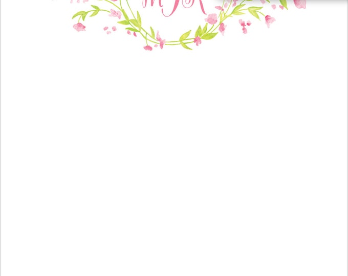 Original Watercolor Floral Wreath | Stationery