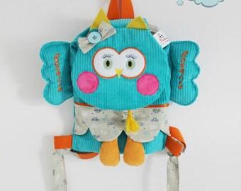 OWL backpack velvet thick ribs.