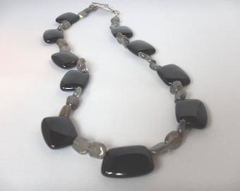 Black Onyx & Labrodite Necklace