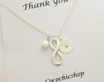 Personalized necklace - infinity necklace with freshwater pearl - silver necklace - bff necklace - gift for her - girlfriend - birthday