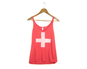 SAMPLE SALE Swiss Cross Tank - Oversized Scoop Neck Strappy Swing Tank Top in Heather Red and White - Women's M