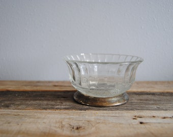 Vintage glass sterling silver bowl or candy dish