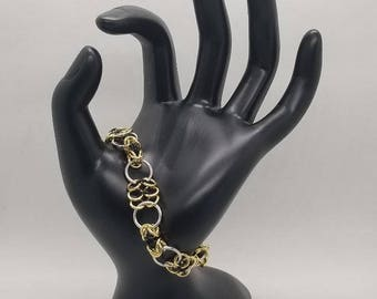 Gold and Black Byzantine and European 4-in-1 Chainmaille Bracelet