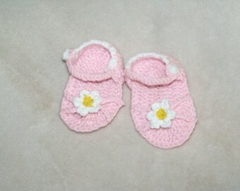 Crochet Flower Power newborn Sandals, Flower Baby Sandals, Newborn Summer Sandles, Custom baby girl sandal Shoes, Summer Baby Booties