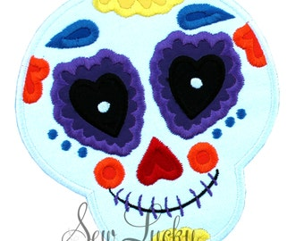 Sugar Skull Embroidered Patch, Sew or Iron on