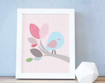 Kids Decor, Bird Art Print, Nursery Wall Art, Pink, Baby Girl Decor, Nursery Print, 8x10, 16x20, Nature, Poster, Frame. Chubby Bird Print