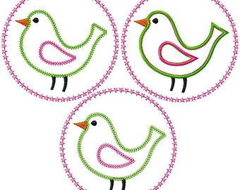 "Bird with Starry Circlet Appliques Machine Embroidery Designs Applique Patterns 3 variations in 2 sizes 4"" and 5"""