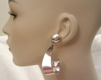 TAXCO large CURL Sterling Silver Earrings Modern Abstract Dangle 22 g Superb