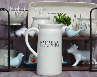 DECAL ONLY~Rae Dunn Inspired Margaritas Vinyl Decal~Kitchen Decor~Farmhouse Decor~Rae Dunn Pitcher Decal~Tequila~Lemonade~Fall In Love