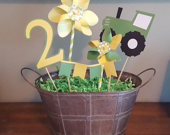 Tractor party centerpieces * tractor party decorations * pinwheels * tractor * birthday party centerpieces