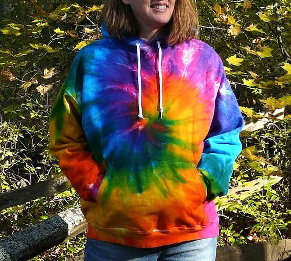 Zip 2X 3X Tie Dye Hoodie Sweatshirt, Mens or Womens Jacket, Rainbow Spiral Design, Plus Size, Eco-friendly Dyeing