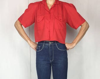 80s Red Cropped Puff Sleeve Blouse