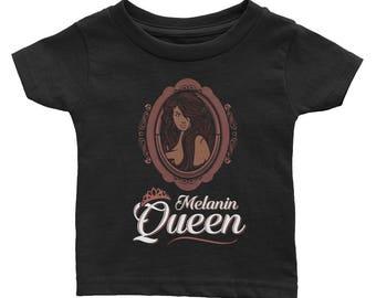 Melanin Queen Kids Baby Toddler Black Girl Magic African Queen Melanated Diva Daughter Girls Infant Tee