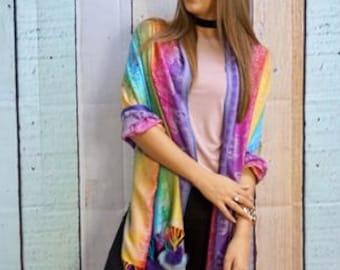 Multi coloured cashmere pashmina scarf with faux balls