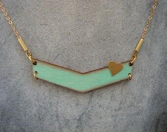 Mint Chevron Necklace, Wood  Necklace,Wood  Necklace,Valentine's necklace