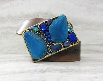 Agate Belt Buckle with Cobalt Blue or Turquoise Agate Slice & Rhinestone in Aqua,Teal  Caribbean, and Royal Blue by Sharona Nissan last one