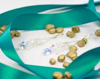 Swarovski crystal earrings, silver earrings, chandelier earrings, silver chandelier, teardrop crystal, bridal earrings, elegant earrings