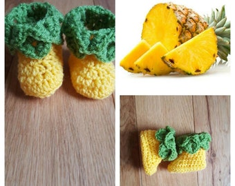 Baby Pineapple Booties - Baby Shoes - New Baby Gift - Baby Shower Gift - Crochet baby shoes, baby boots - pineapple, fruit shoes soft sole