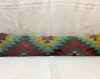 "Long Kilim Pillow Cover,12""x52"" 30x130cm,Old Kilim,Vintage,Wool,Handmade,Handwoven,Bedroom,Decorative,Cushion Cover,Long Pillow Case,Turkey"