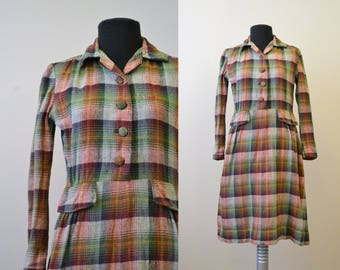 1930s Wool Plaid Dress