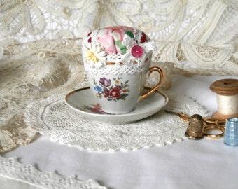 Vintage Teacup and Saucer Pincushion - Pink